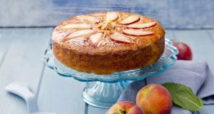 PEach polenta cake. Photograph: Harry Weir