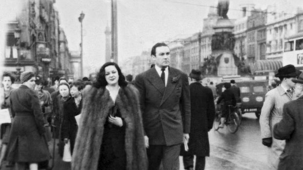 Actor Movita Castaneda and Jack Doyle, who were married briefly, walking down O'Connell Street in the 1940s. From the exhibition 'Man on the Bridge'. Photograph: Arthur Fields family collection