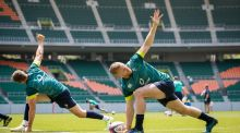 The Ireland rugby squad at   Shizuoka Stadium Ecopa in Fukuroi,  Japan for a test match in June 2017. Photograph: Ryan Byrne/Inpho