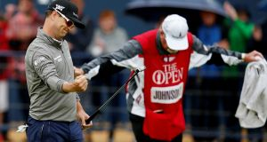 Zach Johnson of the US reacts after making birdie on the 18th during the second round of the British Open at Carnoustie. Photograph: Andrew Yates/Reuters