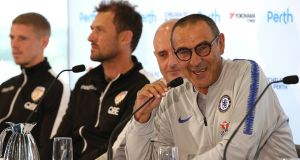 Chelsea's new head coach Maurizio Sarri talks to the media during a press conference at Optus Stadium in Perth, Australia on Friday. Photograph:  Paul Kane/Getty Images