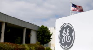 The logo of General Electric at subsidiary company GE Aviation in California. Photograph: Mike Blake/File Photo/Reuters