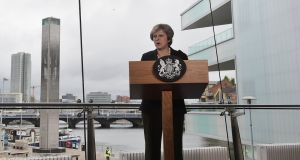Theresa May delivers a speech at the Waterfront Hall in Belfast, on Friday. The British prime minister challenged the EU to reply to last week's British government White Paper. Photograph: Charles McQuillan/Reuters