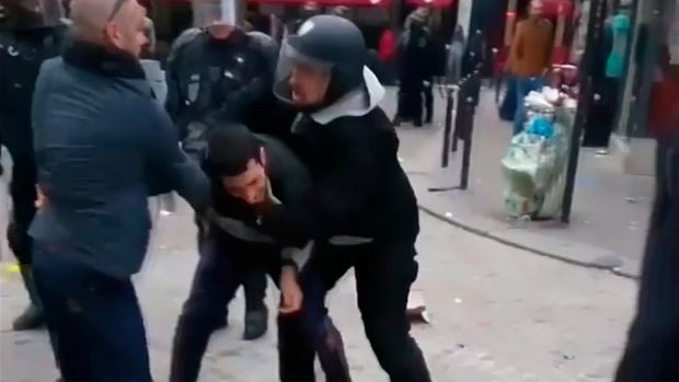 In a video posted on Facebook, Alexandre Benalla engaged physically with members of the public on the Place de la Contrescarpe in Paris in May.