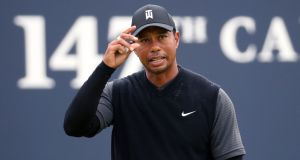 USA's Tiger Woods after his round on the 18th during day two of the Open Championship 2018 at Carnoustie. Photograph: Jane Barlow/PA Wire