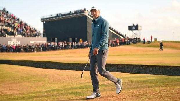 Jordan Spieth walks onto the 18th green during his second round at Carnoustie. Photograph: Andy Buchanan/AFP/Getty Images
