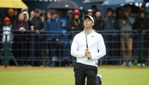 Rory McIlroy reacts after his birdie putt just misses on the 18th hole during the second round of the British Open at Carnoustie. Photograph:  Francois Nel/Getty Images