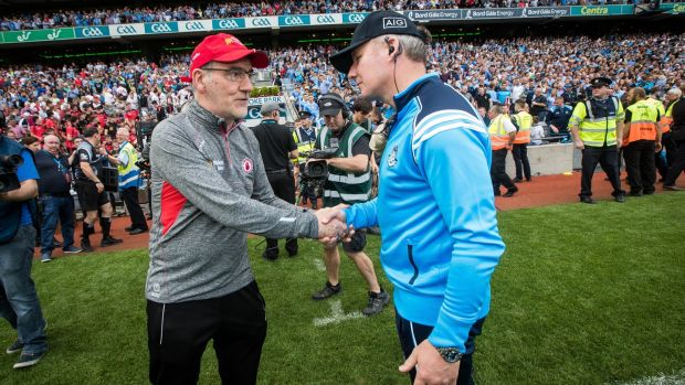 Mickey Harte and Jim Gavin shake hands at the end of last year's semi-final. Photo: Inpho