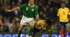 Liam Miller in action for Ireland against Colombia in a friendly in London in 2008. Photograph: Jamie McDonald/Getty Images