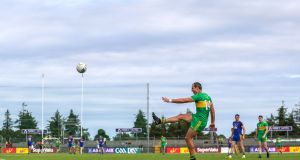 Donegal's Michael Murphy  scores a free during the All-Ireland SFC quarter-final Super 8s game against Roscommon at Dr Hyde Park. Photograph: Tommy Dickson/Inpho