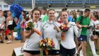 Eilidh Prise, Natalya Coyle  and Sive Brassil celebrate with their silver medals at the  ECMP European Championships in  Hungary. Photograph: Pentathlon Ireland