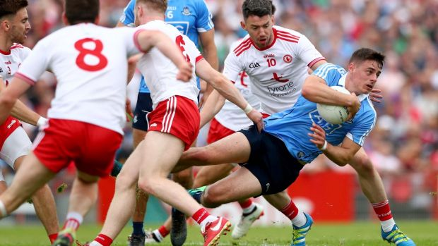 Brian Howard of Dublin in possession during the All-Ireland SFC quarter-final Super 8s game against Tyrone at Healy Park in Omagh.