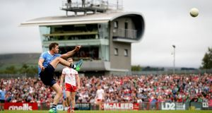 Dublin's Dean Rock takes a free during the All-Ireland SFC quarter-final Super 8s game against Tyrone at  Healy Park in  Omagh. Photograph: Ryan Byrne/Inpho