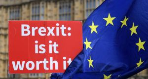 Anti-Brexit campaigners protest outside the Houses of Parliament in London last Wednesday. Photograph: Andy Rain/EPA