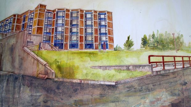 Hotel, mixed media on paper, by Jennifer Cunningham, After the Future exhibition at the Galway festival