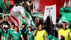 Cork City fans display a banner in  memory of Liam Miller during their Champions League tie against Legia Warsaw earlier this month. Photograph: Ryan Byrne/Inpho