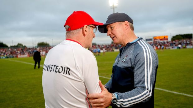 Tyrone's manager Mickey Harte and Dublin manager Jim Gavin after the game. Photograph: James Crombie/Inpho