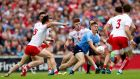 Tyrone's Colm Cavanagh and Cathal McShane tackle Con O'Callaghan of Dublin at Healy Park, Omagh on Saturday. Photograph: James Crombie/Inpho