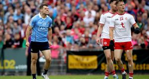 Dublin's Kevin McManamon celebrates a late score against Tyrone at Healy Park, Omagh. Photograph: Ryan Byrne/Inpho