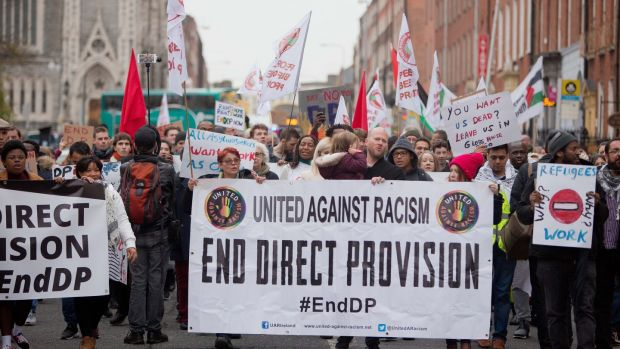 File image of a protest calling for an end to direct provision, at the Garden of Remembrance, Dublin. Photograph: Tom Honan