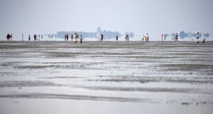 Walking along the mudflats  during the annual horse-buggy races at Duhnen in Cuxhaven, Germany. Photograph: Morris MacMatzen/Getty Images