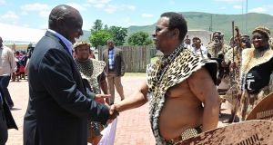 Zulu king Goodwill  Zwelithini greets ANC president Cyril Ramaphosa in January  2018 in KwaZulu-Natal, South Africa. File photograph: Jabulani Langa/Daily Sun/Gallo Images/Getty Images