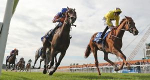 Sea of Class ridden by James Doyle wins the Darley Irish Oaks  at Curragh Racecourse, Co Kildare. Photograph: Niall Carson/PA Wire.