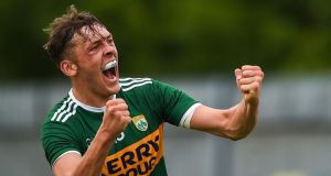 David Clifford celebrates after scoring Kerry's late goal in the All-Ireland quarter-final Super 8 game against Monaghan at St Tiernach's Park in Clones. Photograph:  Philip Fitzpatrick/Sportsfile via Getty Images