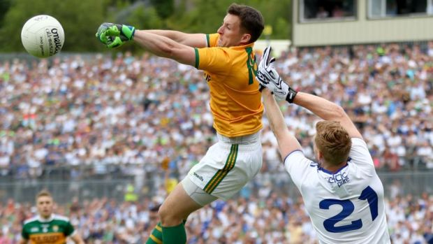 Kerry goalkeeper Shane Murphy clears the ball during the All-Ireland quarter-final Super 8 game against Monaghan at St Tiernach's Park in Clones. Photograph: James Crombie/Inpho