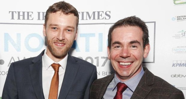 Dermot Hughes and Michael Murray of NVP Energy, which has won a national Energy Globe award for the installation of its wastewater treatment technology at Arrabawn Dairies in Kilconnell, Co Galway.