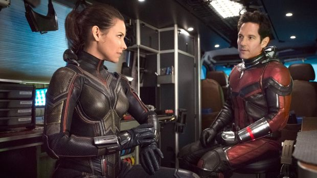 The Wasp/Hope van Dyne (Evangeline Lilly) and Ant-Man/Scott Lang (Paul Rudd). Photograph: Ben Rothstein/Marvel Studios