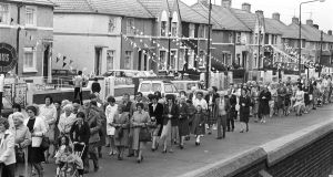 Part of the Corpus Christi procession from the Church of Our Lady of Good Counsel, Mourne Road, Drimnagh in June 1982.Photograph: Eddie Kelly