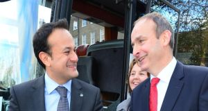 The offer by Taoiseach Leo Varadkar (left) of an extension to the confidence-and-supply arrangement has put Fianna Fáil leader Micheál Martin (right) on the spot, and some leading members of his party are angry at the fact that it became public so quickly. File photograph: Bryan O'Brien/The Irish Times