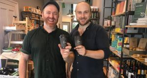 Garrett Fitzgerald and James Boland in their new Brother Hubbard shop, which will sell reusable coffee cups made from coffee grinds