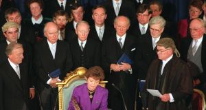 Mary Robinson at her inauguration as president at Dublin Castle in December 1990.  Photograph: Matt Kavanagh