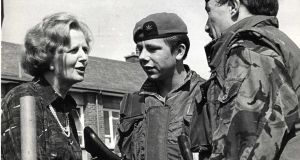 Newly elected UK prime minister Margaret Thatcher on a visit to Girdwood barracks in Belfast, 1979