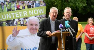 Archbishop of Dublin Diarmuid Martin and Archbishop of Armagh Eamon Martin announce the publication of Pope Francis's itinerary for the World Meeting of Families 2018 in Ireland. Photograph: Dara Mac Dónaill