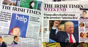 A selection of Irish Times newspapers. Photograph: Frank Miller