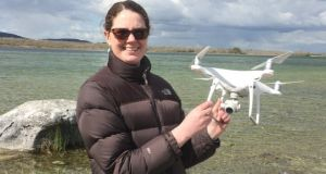 Dr Heather Lally of GMIT with a  drone