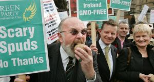 Senator David Norris, then Green Party leader Trevor Sargent and Marian Harkin MEP at the GM-free Ireland Network protest rally outside Leinster House, Dublin, in 2006. Photograph: Matt Kavanagh