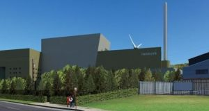 An artist's impression of the proposed incinerator at Ringaskiddy in Co Cork.