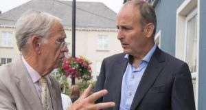 MacGill Summer School director Joe Mulholland and Fianna Fáil leader Micheál Martin in Glenties, Co Donegal. Photograph:  North West Newspix