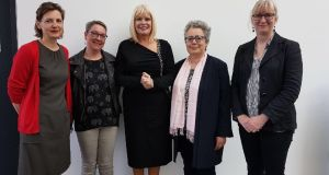 The four NUI Galway lecturers who say they were discriminated against on gender grounds with Minister of State for Higher Education Mary Mitchell O'Connor.