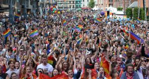 Crowds attending the Dublin Pride Parade last year. Last month the State marked the 25th anniversary of the decriminalisation of homosexuality with a reception in Dublin Castle attended by 700 people. File photograph: Dara Mac Dónaill