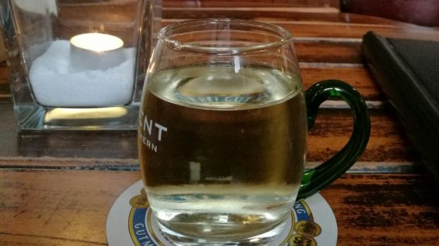 Riesling served in a traditional Viertele glass