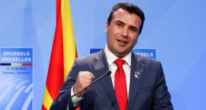 Macedonia's prime minister Zoran Zaev: says the nationalists are holding the nation's future hostage to party interests. Photograph:  Darrin Zammit Lupi/Reuters