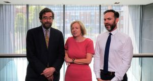 The Climate Change Advisory Council has launched its Annual Review 2018 in Dublin this afternoon. (from left) Prof. John Fitzgerald; Laura Burke and Joseph Curtin all of the Climate Change Advisory Council. Photograph: Nick Bradshaw f