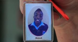 A photograph  of Maleek Lawal on a keyring is shown  following an   inquest on Wednesday into his death in October 2016. Photograph:  Gareth Chaney/Collins.