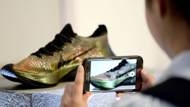The launch of the Nike Zoom Vaporfly Elite Flyprint in London last April. Photograph: Patrik Lundin/Getty Images