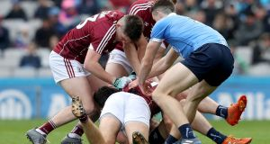 Galway and Dublin in action during the league final at Croke Park. The teams could meet again in the All-Ireland – whether at the semi-final or final stage. Photograph: Bryan Keane/Inpho